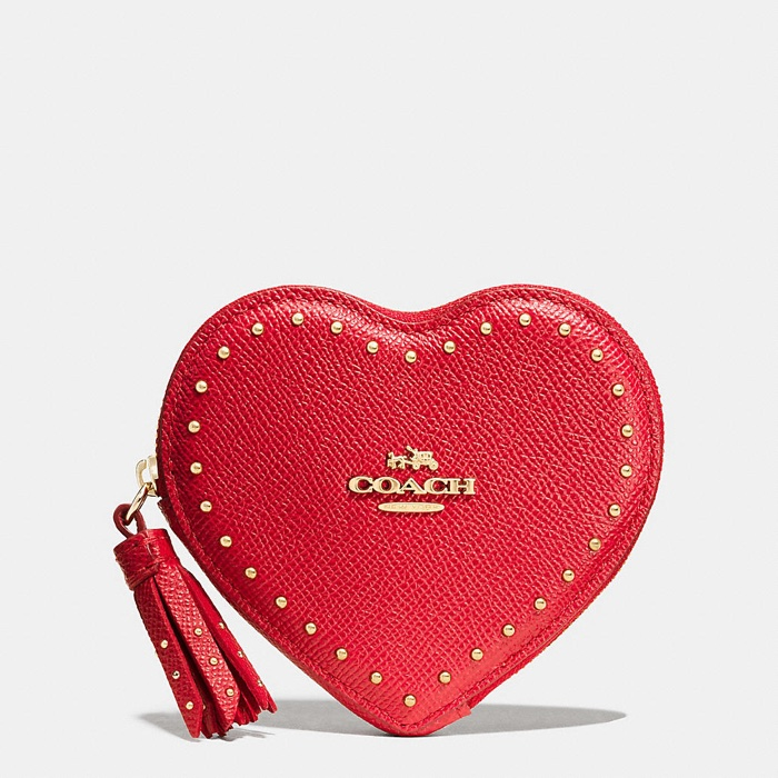 Coach Studded Heart Coin Purse