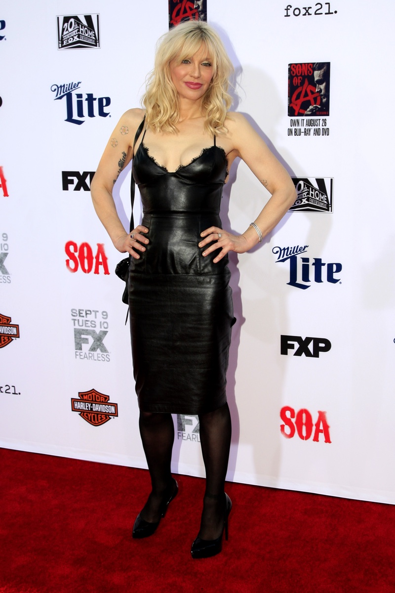 2014: Courtney Love attends the premiere of FX's Sons of Anarchy wearing a black leather dress. Photo: Helga Esteb / Shutterstock.com