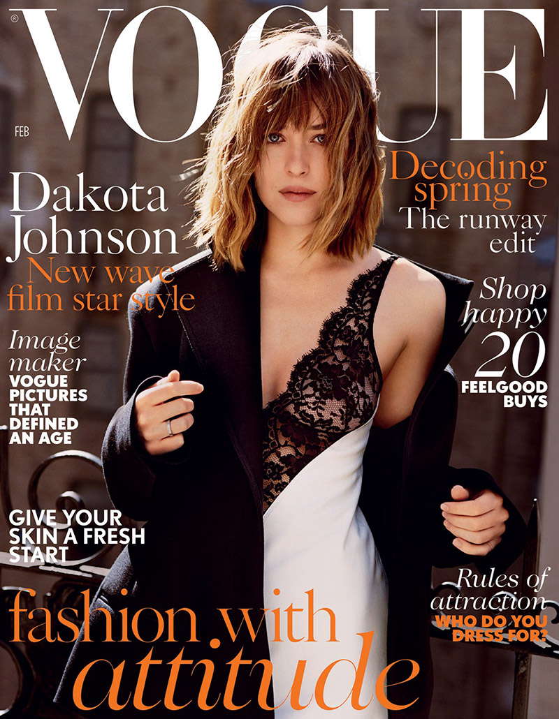 Dakota Johnson Slips Into Celine Dress for Vogue UK Cover