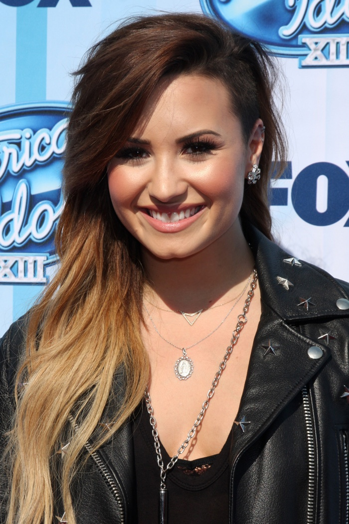 Here is another look at Demi's shaved hairstyle in 2014. Lovato paired the look with long blonde waves. Photo: Helga Esteb / Shutterstock.com
