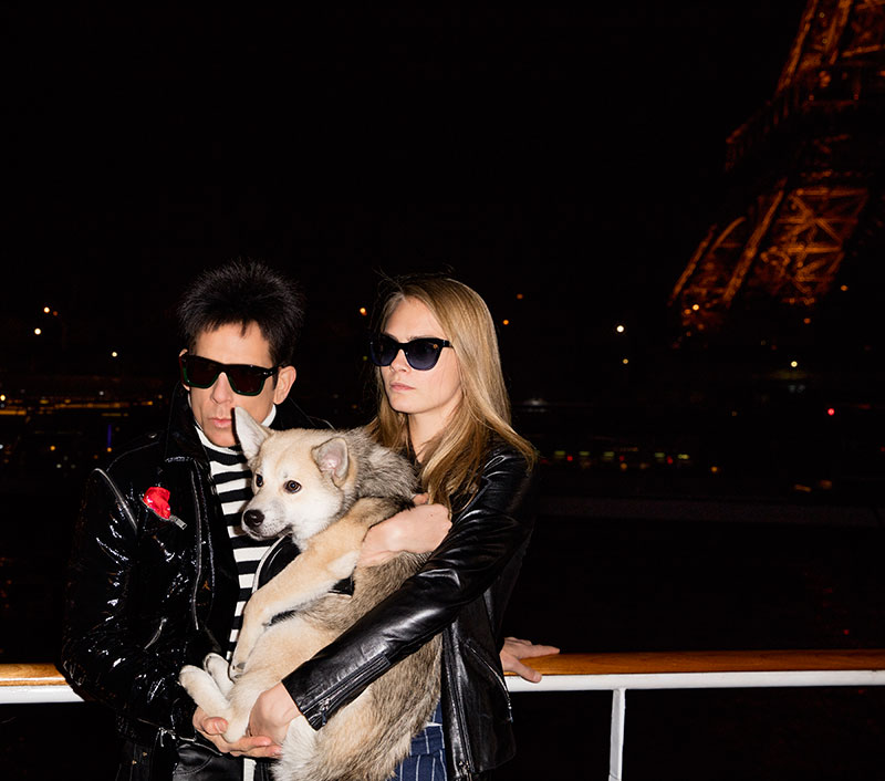Derek Zoolander and Cara Delevingne pose with a dog while in Paris. Photo: Paramount