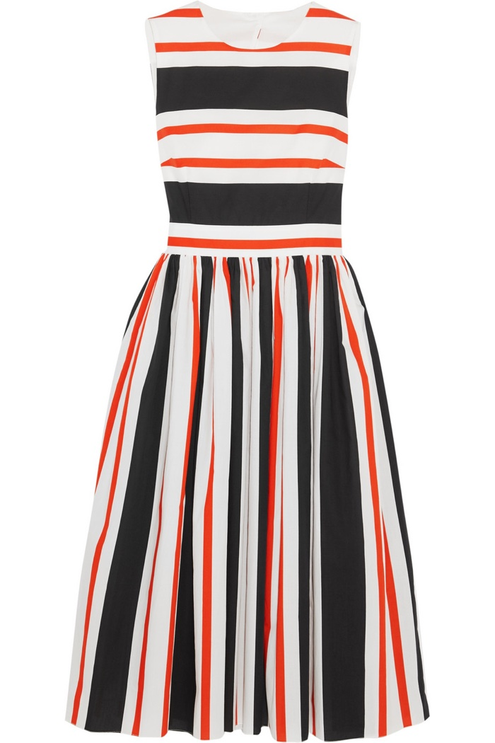 Dolce & Gabbana Cutout Striped Cotton Poplin Dress