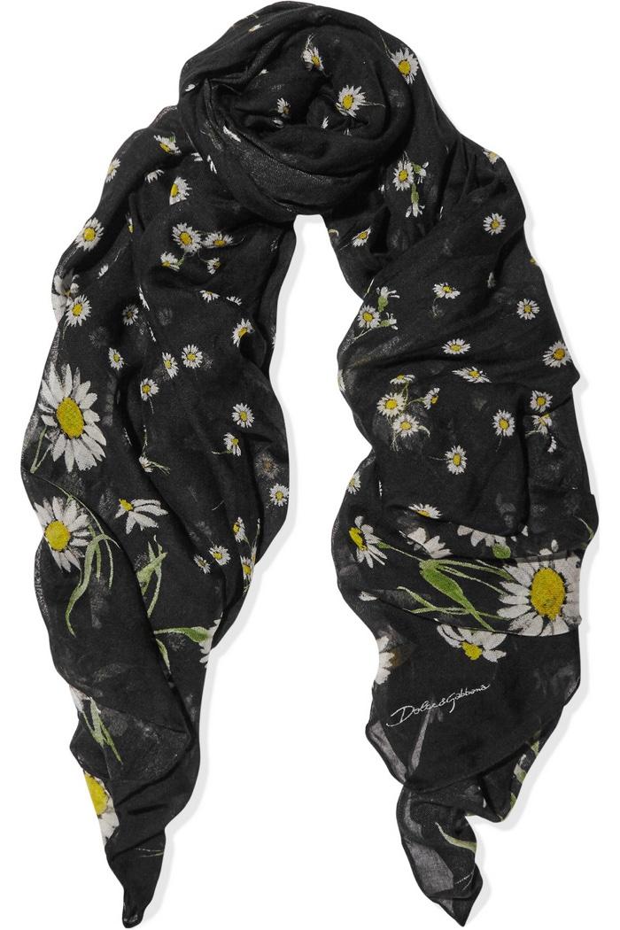 Dolce & Gabbana Daisy Print Cotton Silk Scarf