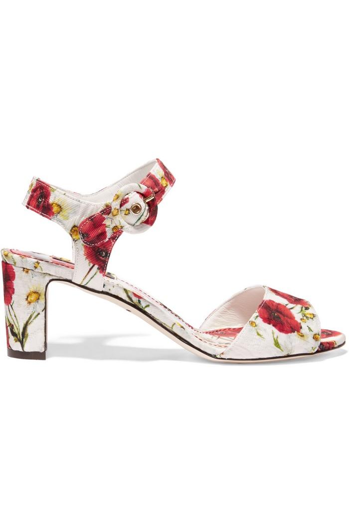 Dolce & Gabbana Floral Print Brocade Sandals