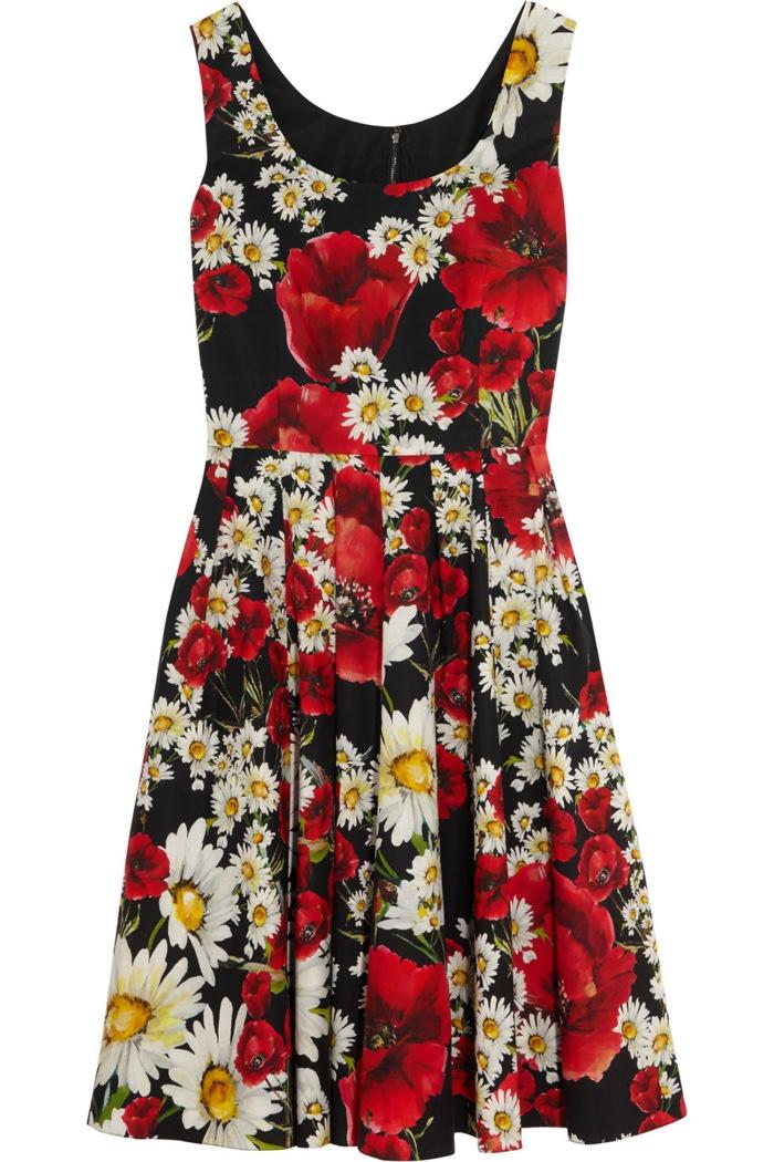 Dolce & Gabbana Floral Print Cotton Poplin Dress