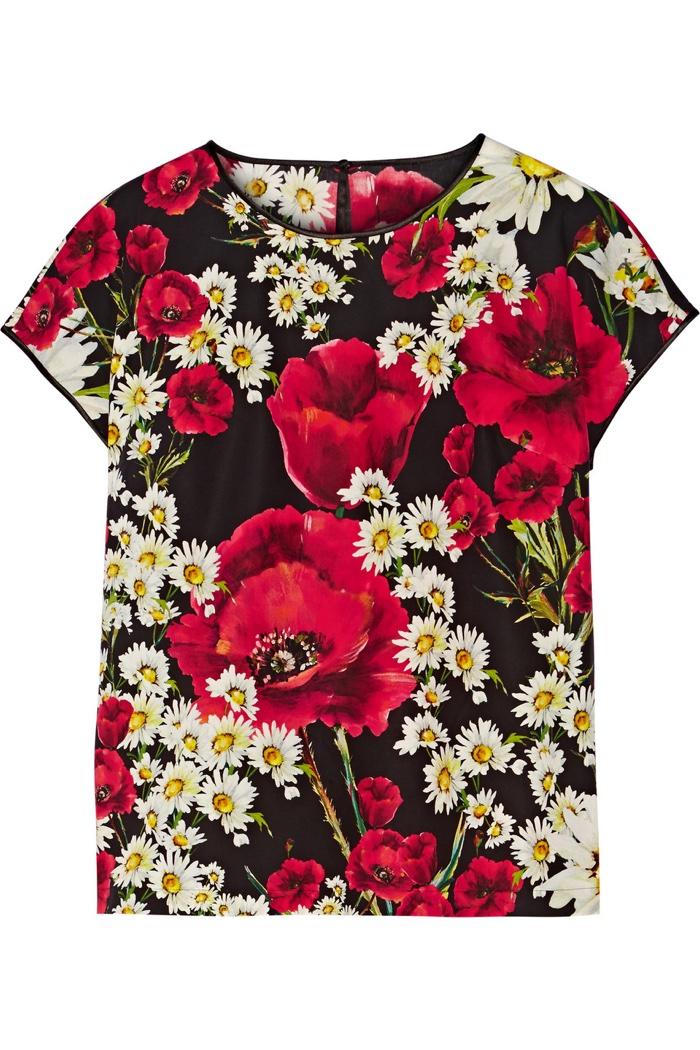 Dolce & Gabbana Satin Trimmed Floral Print Poplin Top