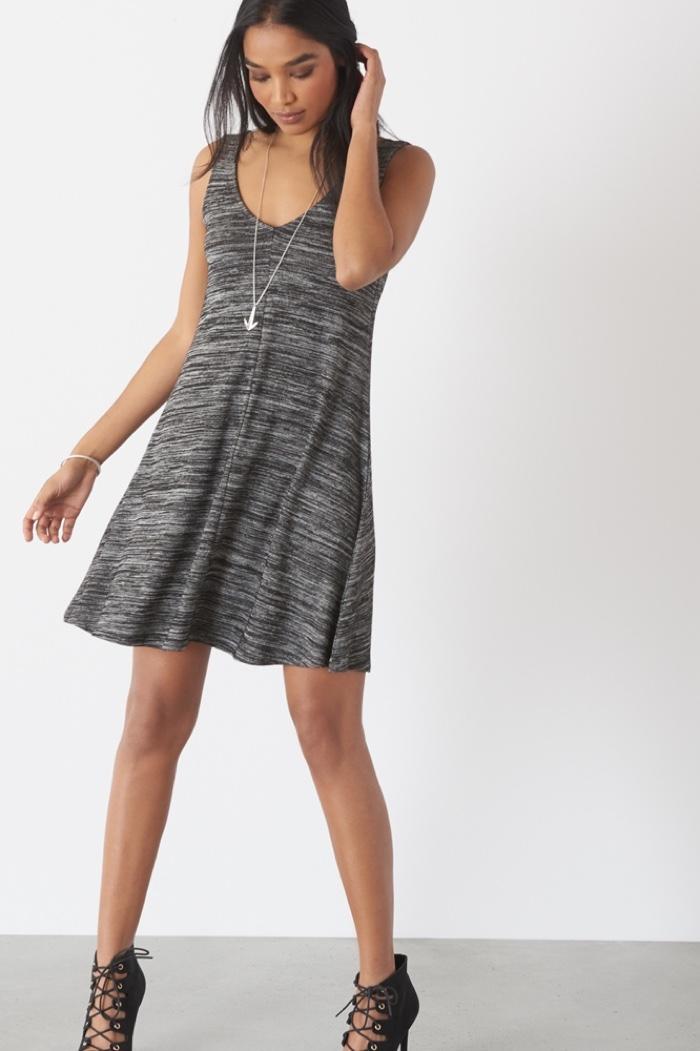Dynamite Grey Knit Flare Dress