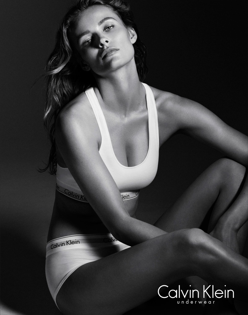 Edita models a sports bra from Calvin Klein Underwear