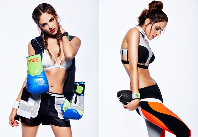THE KNOCKOUT: Eiza looks ready to rumble in boxing gloves and sports bra