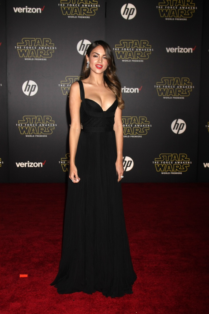 DECEMBER 2015: Eiza Gonzalez attends the Los Angeles premiere of Star Wars: The Force Awakens. Eiza exudes Old Hollywood glamour in a long black gown. Photo: Helga Esteb / Shutterstock.com
