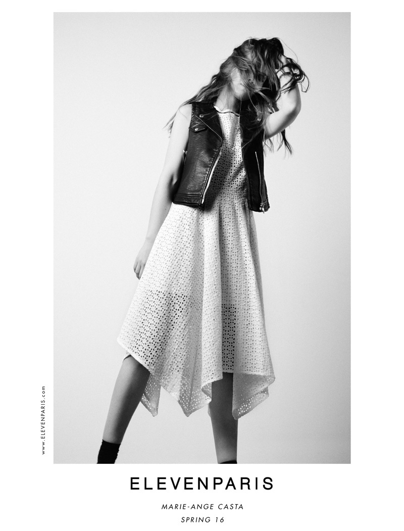 Marie-Ange Casta wears leather vest and pleated dress from ELEVENPARIS