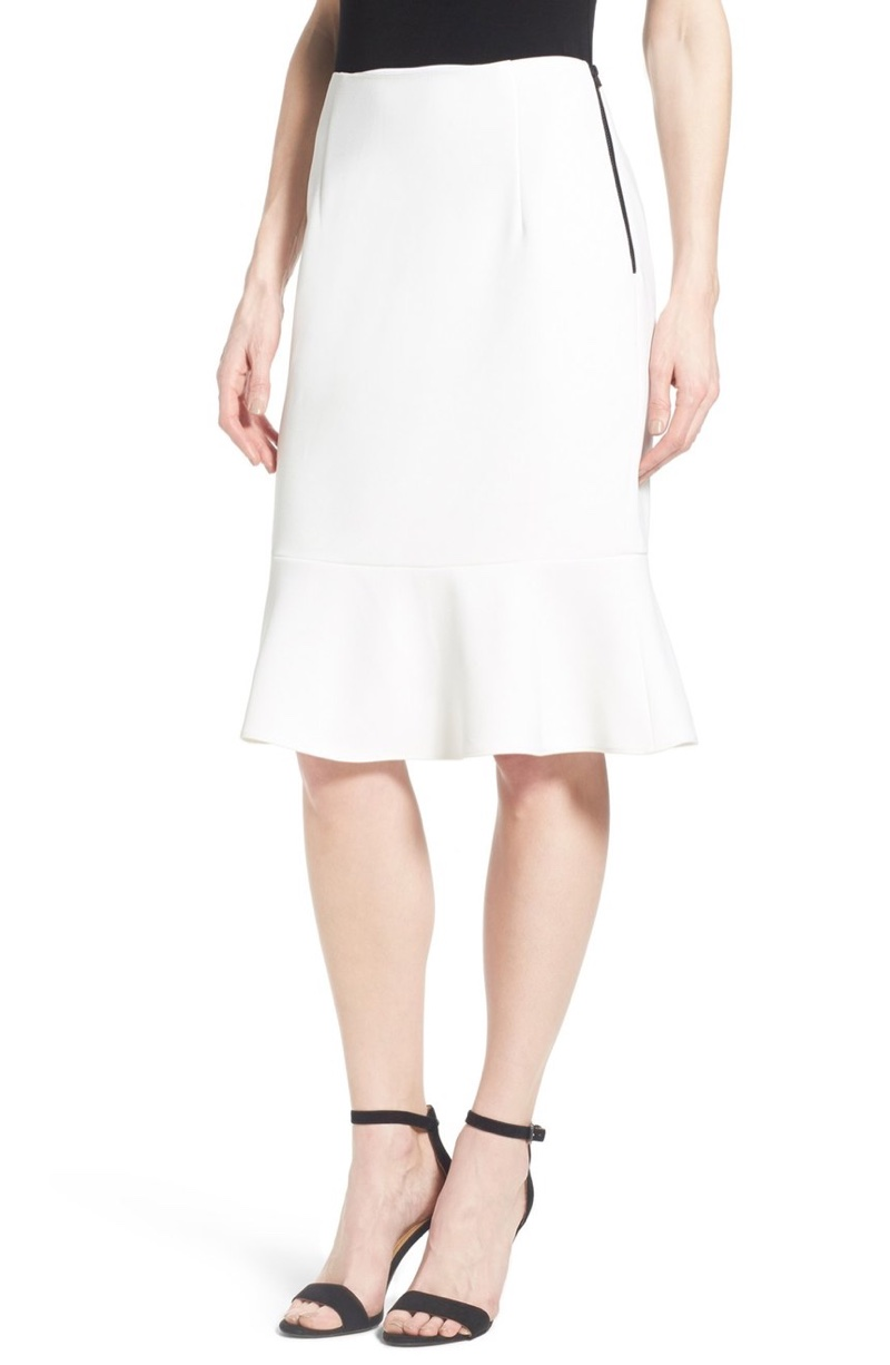 Ellen Tracy Flounce Pencil Skirt in White