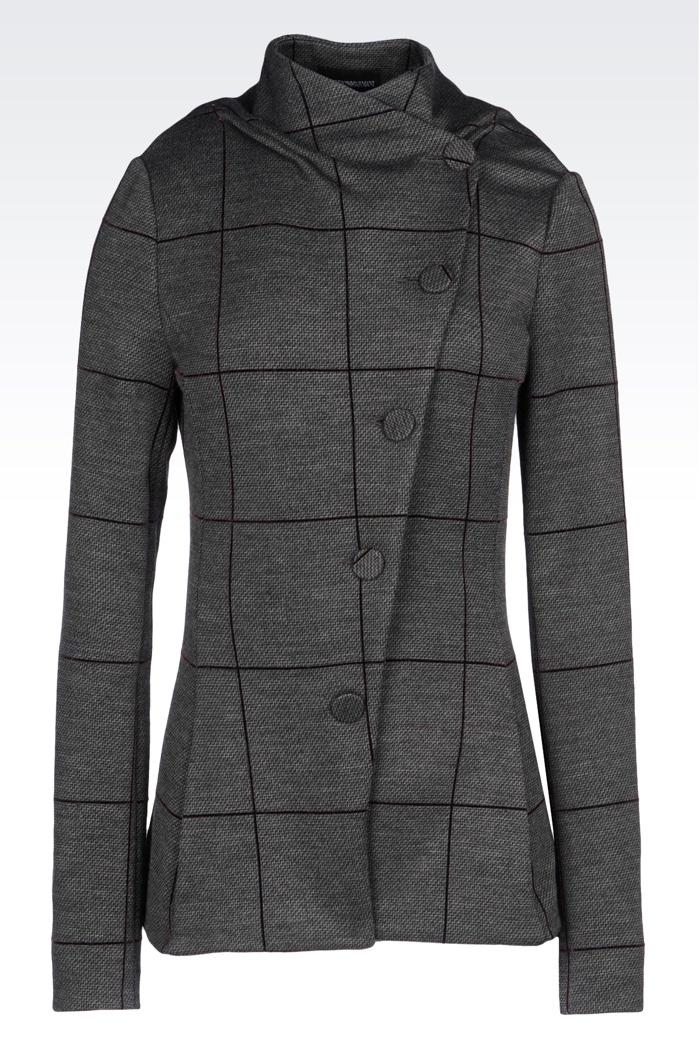 Emporio Armani Jacquard Jacket with Window Pane Print