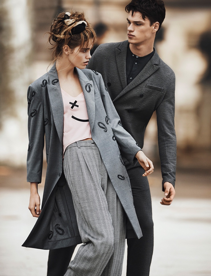 Models wear long coats in Emporio Armani's spring-summer 2016 campaign