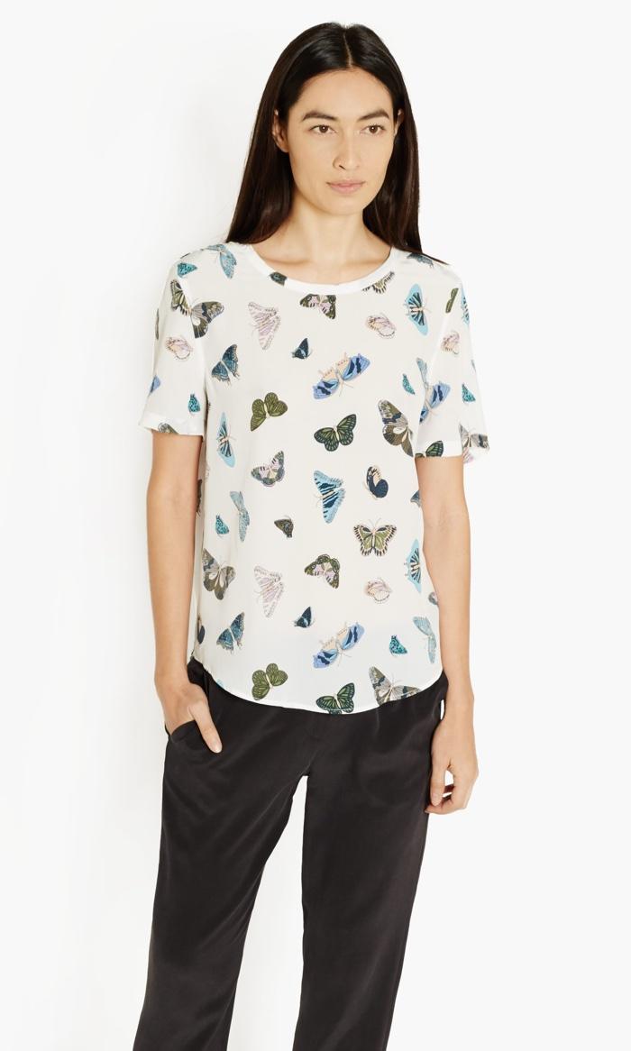 Equipment Riley Butterfly Print T-Shirt