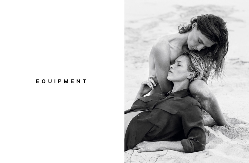 Daria Werbowy & Kate Moss pose on the beach for Equipment's spring 2016 campaign