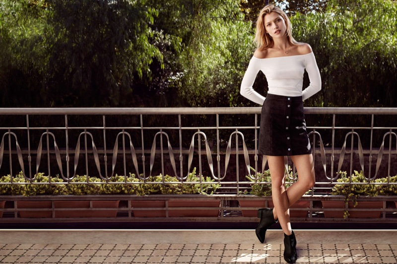 H&M Ribbed Off-the-Shoulder Top, Imitation Suede Skirt and Leather Ankle Boots