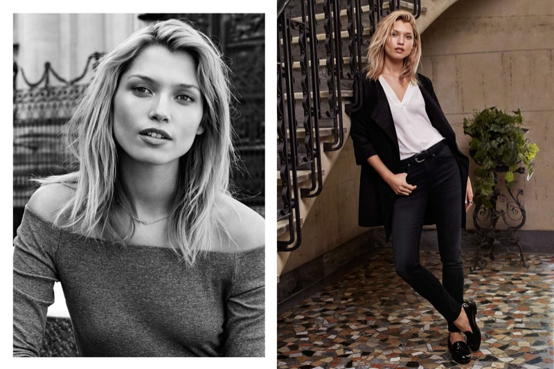 (Left) H&M Ribbed Off-the-Shoulder Top (Right) H&M Imitation Suede Coat, Sleeveless Blouse, Slim-fit Pants and Loafers