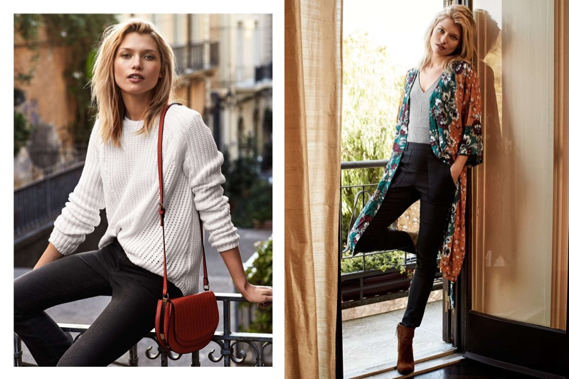 (Left) H&M Rib Knit Sweater, Slim-fit Bootcut Pants and Shoulder Bag (Right) H&M Patterned Dress, Ribbed Knit Bodysuit and Treggings