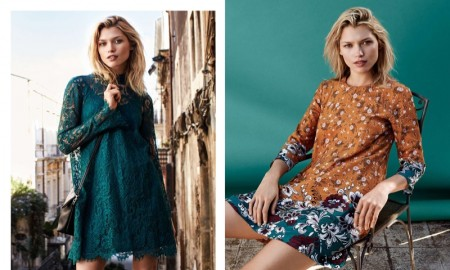 (Left) H&M Green Lace Dress, Clutch Bag (Right) H&M Patterned Dress