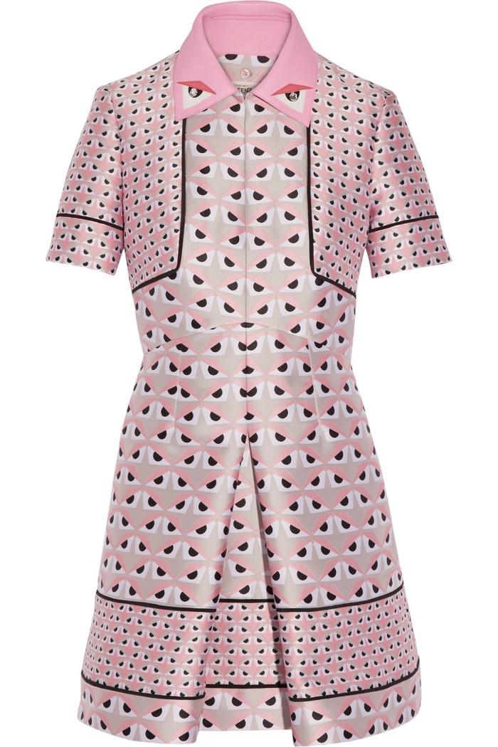 Fendi Leather Trimmed Jacquard Mini Dress