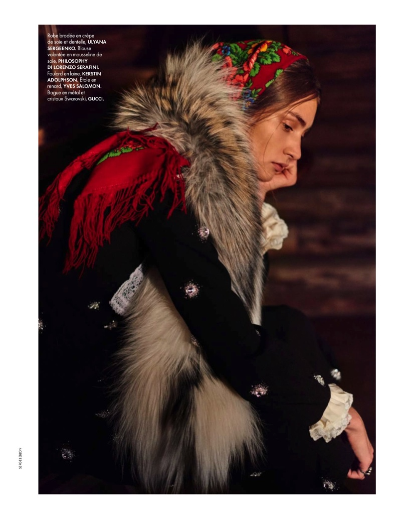 The model wears folk inspired styles in the editorial