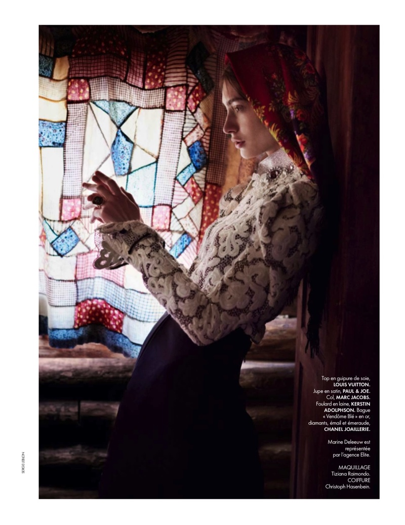 INDOORS STYLE: Marine poses in a Louis Vuitton lace top with Paul & Joe skirt
