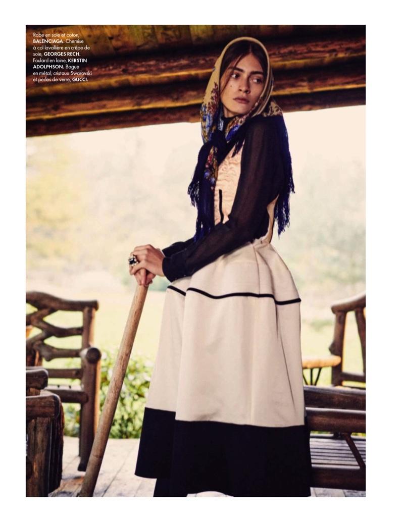 FARM GIRL: Marine models a white Balenciaga dress