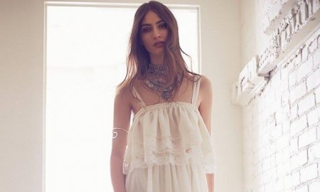 Marine Deleeuw models a bohemian bridal style with Gwen Jones x Free People Kari Set