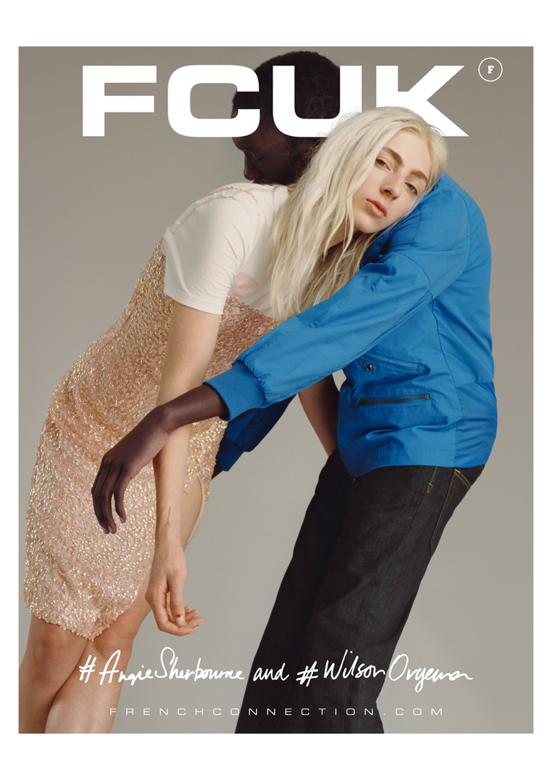 Angie Sherbourne and Wilson Oryema embrace in French Connection's spring 2016 campaign