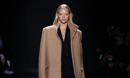 Gemma Ward walks the runway at Calvin Klein Collection Men's fall 2016 at Milan Fashion Week. Photo: © 2016 Dan Lecca