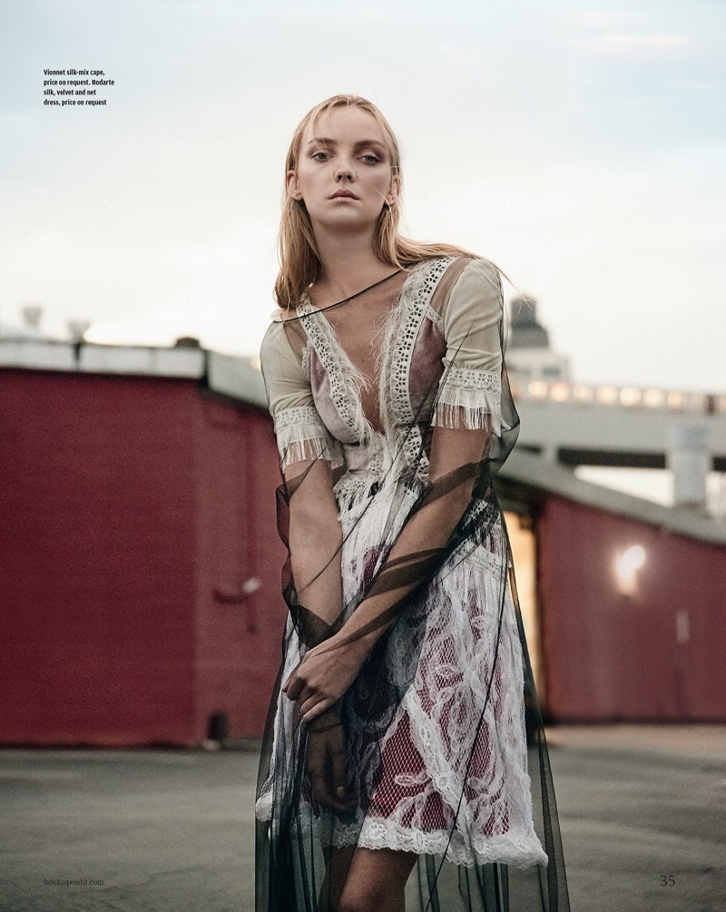Heather Marks poses in sheer style for How to Spend It Magazine