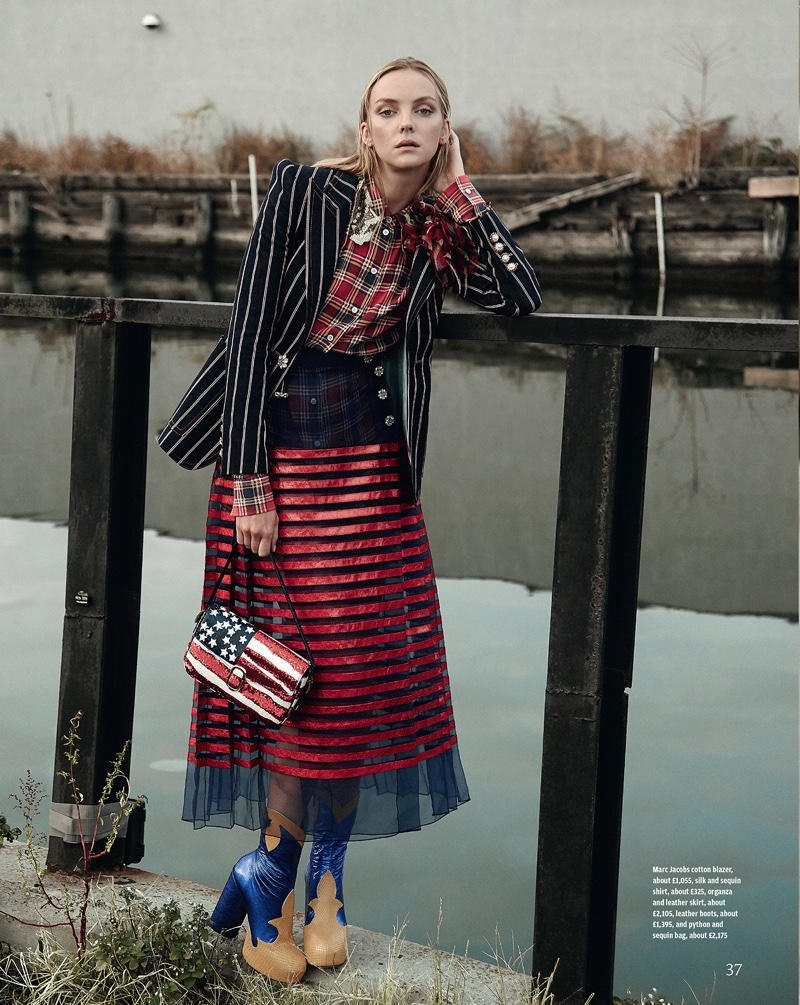 STARS & STRIPES: The model wears a Marc Jacobs cotton blazer, silk and sequin shirt, leather skirt and boots