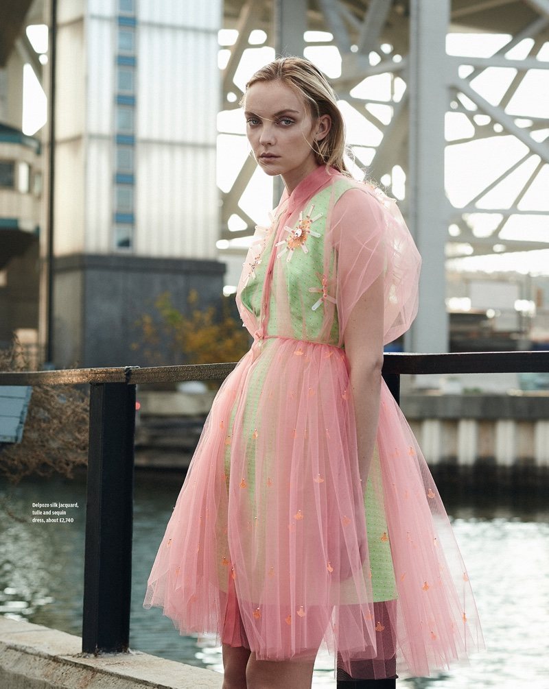 PRETTY IN PINK: Heather poses in a Delpozo silk jacquard, tulle and sequin dress
