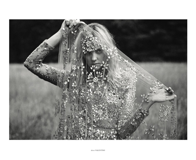 ALL THAT GLITTERS: Heather models a Valentino dress