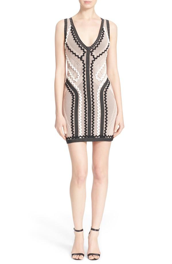 Herve Leger Celia Zigzag Knit Dress