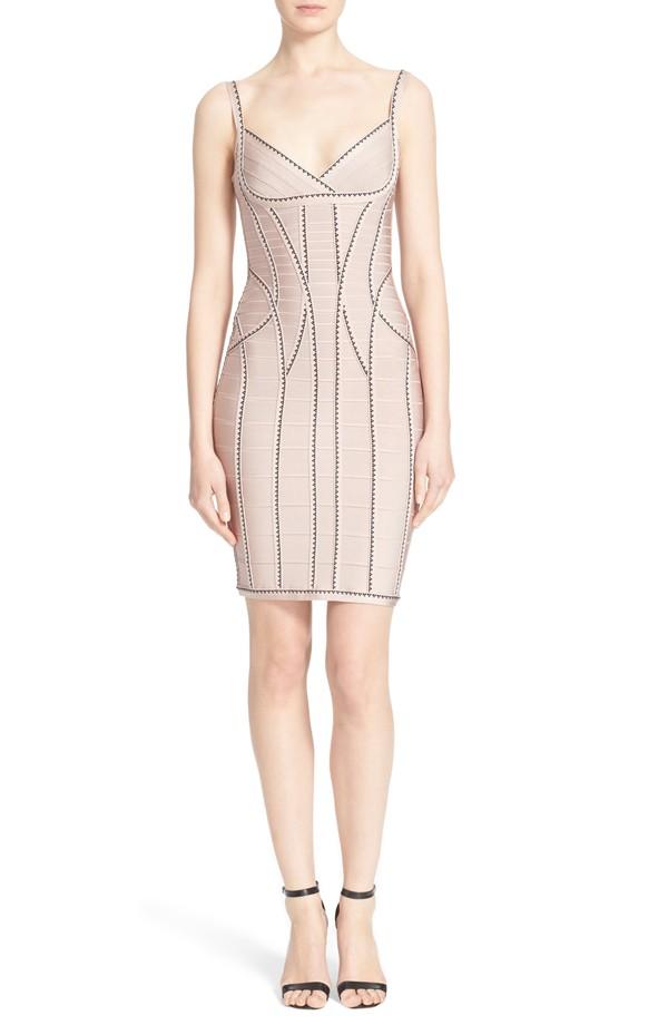 Herve Leger Geometric Jacquard Bandage Dress
