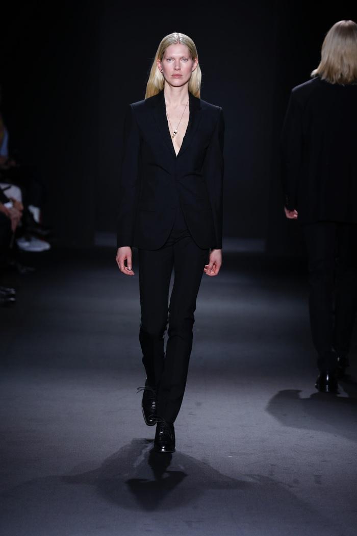 iselin Steiro walks the runway at Calvin Klein Collection Men's fall 2016 at Milan Fashion Week. Photo: © 2016 Dan Lecca