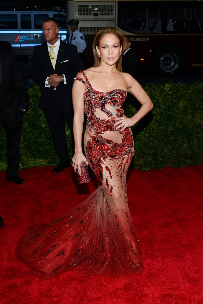 Jennifer Lopez had another sheer moment at the 2015 Met Gala wearing a red Versace dress with a dragon design. Photo: Eastjord Productions / Shutterstock.com