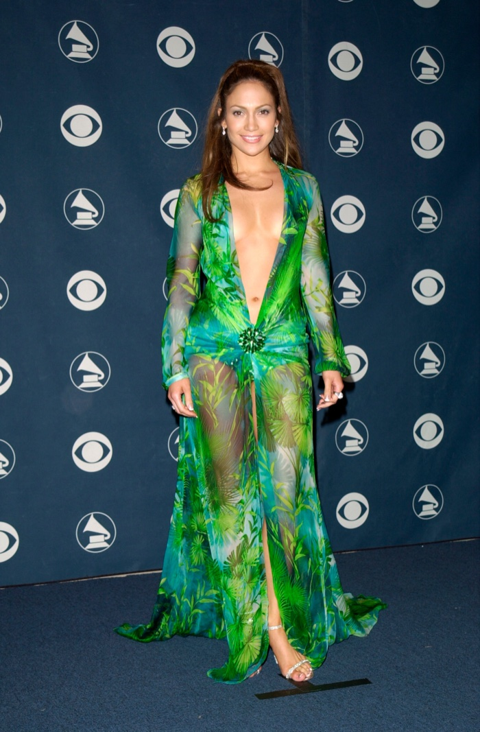 There is no forgetting Jennifer Lopez's iconic green Versace dress that she wore at the 2000 Grammy Awards. The plunging neckline caused a stir for showing what was considered too much skin at the time. Photo: Featureflash / Shutterstock.com