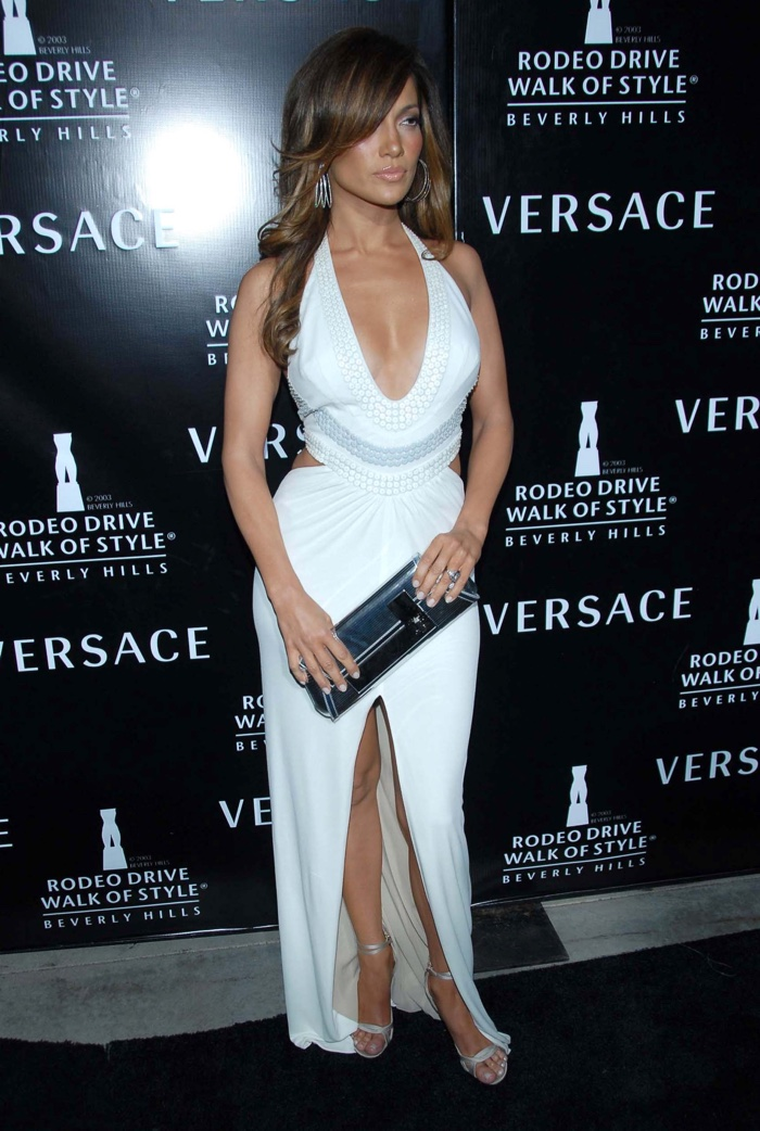 Fast forward to 2007 and Jennifer wore another sexy Versace gown in white at the Walk of Style awards honoring Donatella Versace. Photo: s_bukley / Shutterstock.com