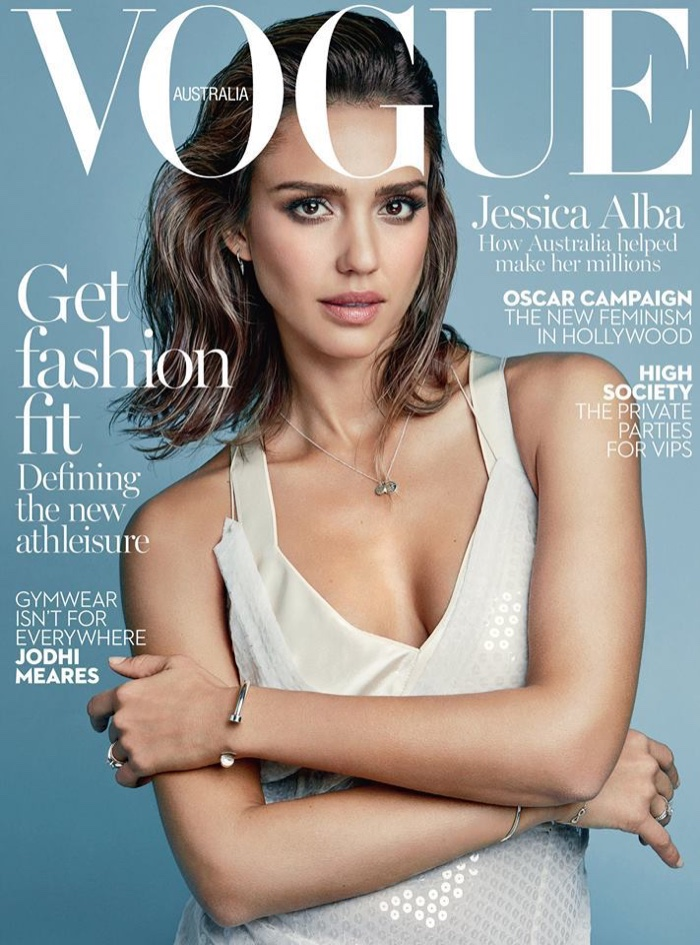 Jessica Alba Poses in Calvin Klein on Vogue Australia Cover
