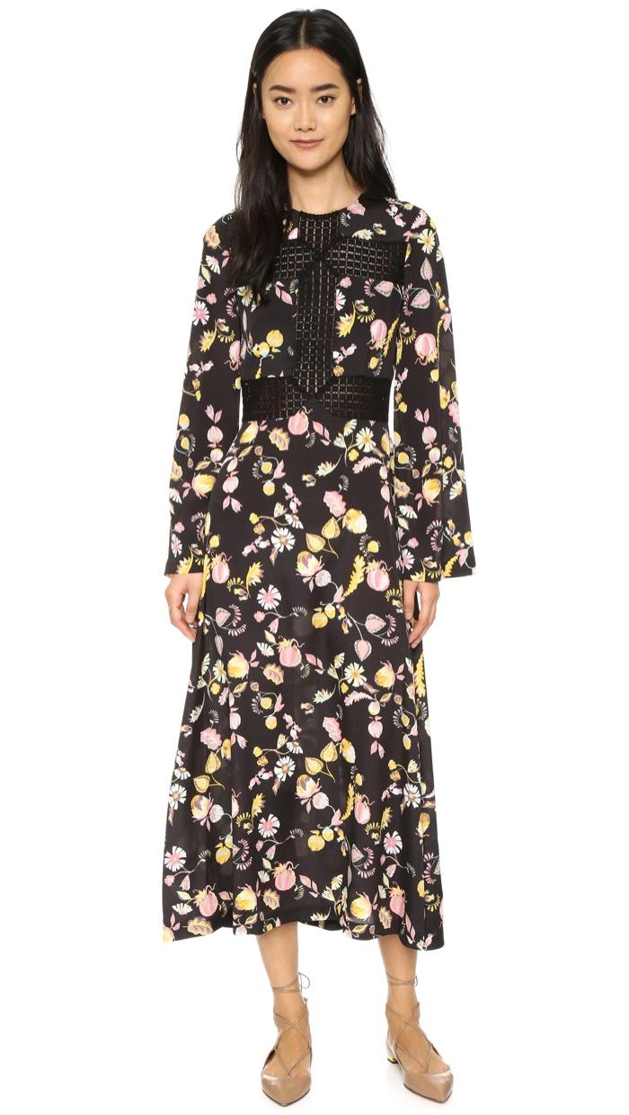 Jill Stuart Long Sleeve Maxi Dress with Floral Print