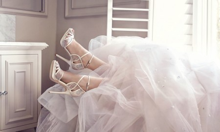 Jimmy Choo Ivory and White Satin Sandals
