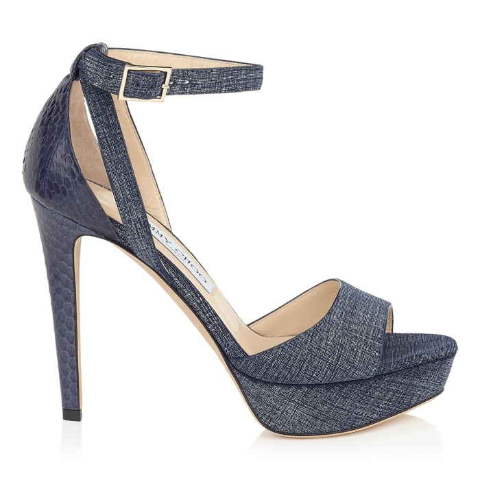 Jimmy Choo Kayden Denim  and Leather Platform Sandals