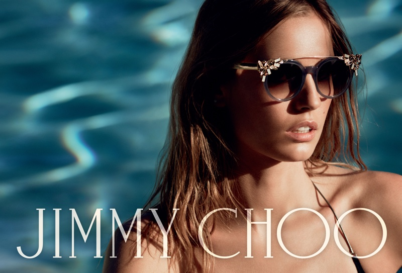 Model wears Vivi sunglasses in Jimmy Choo's spring 2016 campaign