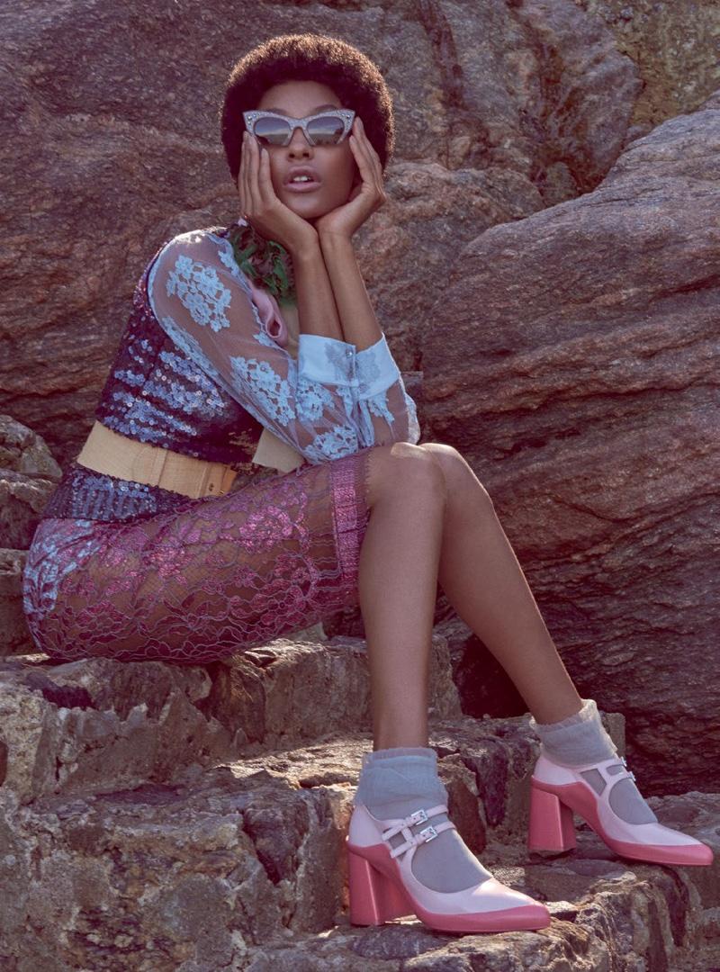 Jourdan goes sheer in lace top and skirt look