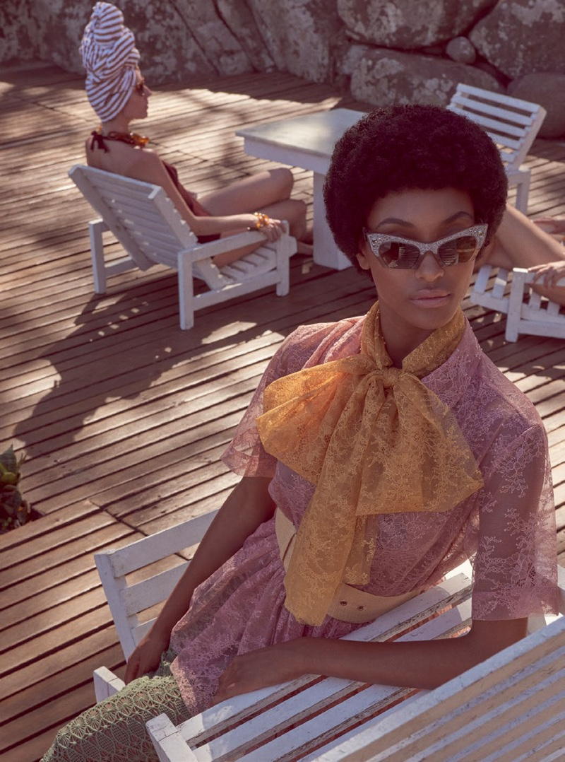Jourdan steals the scene in a pink lace dress and cat eye sunglasses