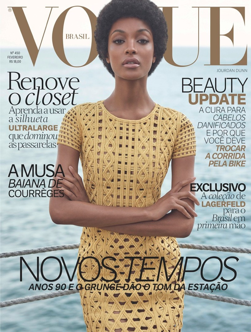 Jourdan Dunn Rocks N Afro On Vogue Brazil`s February Cover
