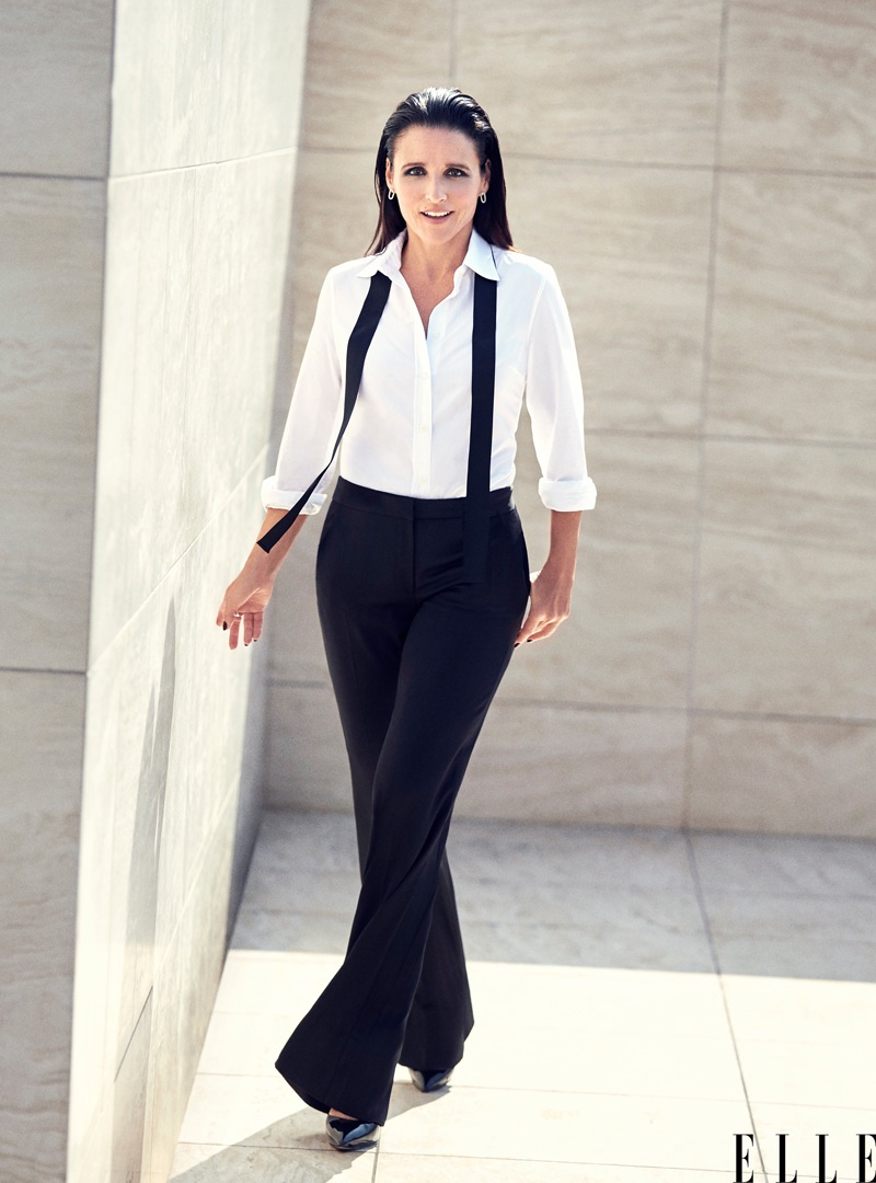Julia Louis-Dreyfus looks dapper in dressy trousers from Saint Laurent and shirt by Dolce & Gabbana